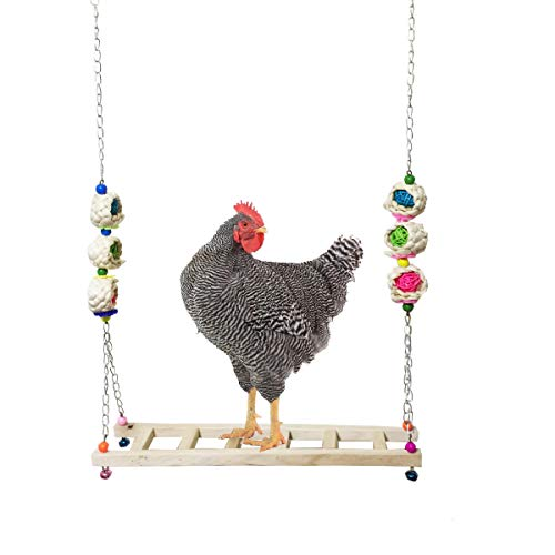 Vehomy Chicken Ladder Swing Chicken Perch Chicken Wood Stand Chicken Toy for Hens...