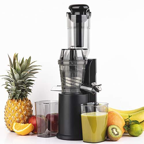 H.Koenig Extracteur de Jus de fruit et légumes vertical compact 0,8L Inox GSX16, Centrifugeuse Vitamin+ Sans BPA, Bec d'introduction Large, Pression douce Rotation Lente, Silencieux, Système reverse