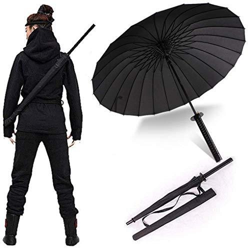 Schirm mit langem Griff, Samurai-Schwert für draußen, Sonne und Regen, winddicht, wasserdicht, personalisierbar, Anime, schwarz, gerader Schirm, 16 oder 24 Rippen, Schwarz  (Schwarz) - VL-GDUO-WAVS