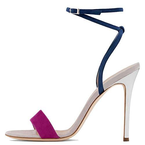 BZGG Mujer Sandalias Zapatos de tacón de Aguja Correa de Tobillo Punta...