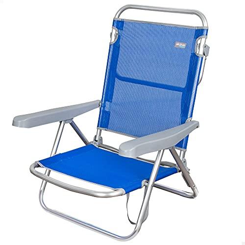 Aktive 62607 - Silla de playa plegable, Aktive Beach, color azul, Silla de playa baja, Silla reclinable,5 posiciones, color coral, con asa de transporte, 61x48x80 cm, Altura 21 cm
