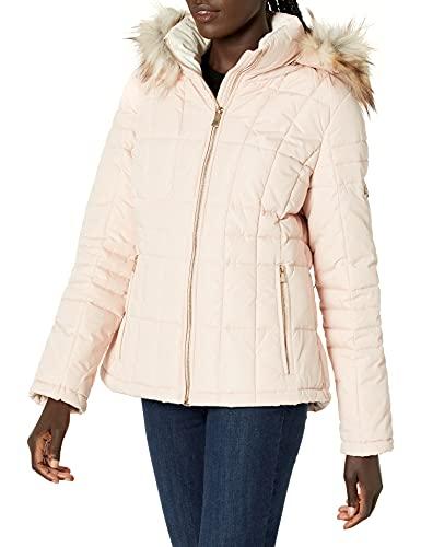 Calvin Klein Women's Box Quilt Faux Fur Trimmed Traditional Short DOWN, BLUSH, XS