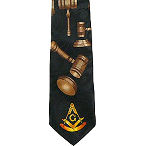 Past Master Tie for Free Mason Suit - Black Polyester Long tie with Gavels Masonry Pattern Design - Masonic Apparel and Regalia. Compass and Square Ties. (Masonic tie)