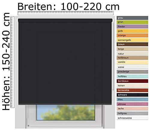 EFIXS Sichtschutzrollo Medium - 25 mm Welle - Farbe: schwarz (4994) - Größe: 200 x 190 cm (Stoffbreite x Höhe) - lichtdurchlässig - Blickdicht