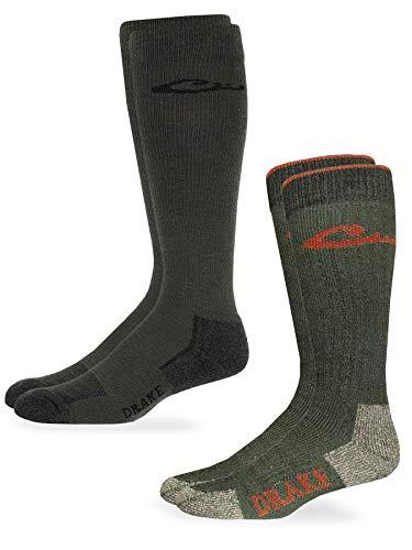 Drake Men's Merino Wool and Ultra-Dri Over The Calf Boot Socks 2 Pair, Olive, Large