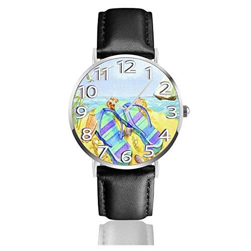Relax Flip Flop Watercolour Orologi Resistente orologio da polso in Pelle PU Orologio al quarzo Life Silence con Acciaio inossidabile Argento