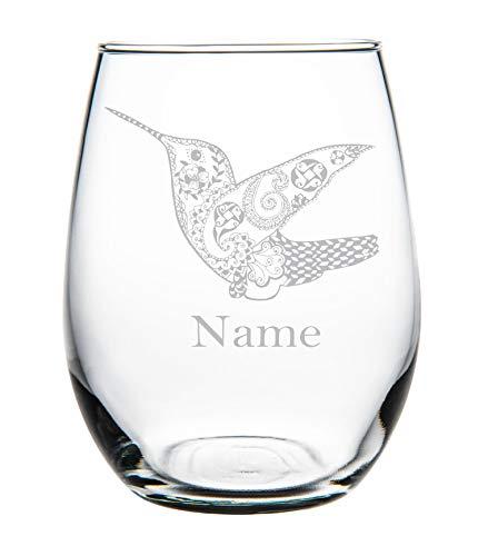Kolibrie met naam 11oz steelloos Wijnglas