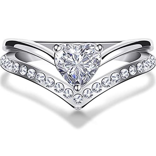 Anillo de Promesa de Amor para Siempre de Corazón de Océano Anillo de Aleación Anillo de Compromiso de Diamantes para Mujeres Niñas (Talla 8)