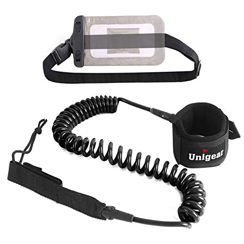 Unigear Premium SUP Leash 10' Coiled Stand Up Paddle Board Surfboard Leash Stay on Board with Waterproof Phone Case/Wallet (Black)