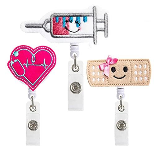 FILWO 3 Stück Krankenschwester Abzeichen Rollenhalter mit lächelnder Bandage Spritze Herzform Abzeichenhalter mit Clip für Freiwillige Schüler Lehrer Ärzte Krankenschwester Geschenke