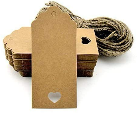 100pcs Kraft Paper Tag Blank for Wedding Favour Cards,Gift Tag,DIY Tag,Luggage Tag,Price Label,Store Hang Tag (100) with Heart (Brown)