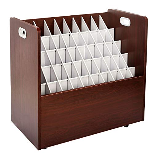 AdirOffice Mobile Blueprint Roll File Holder - Architectural Plan Storage Organizer for Home Office or School Use 50 Slots (Mahogany)