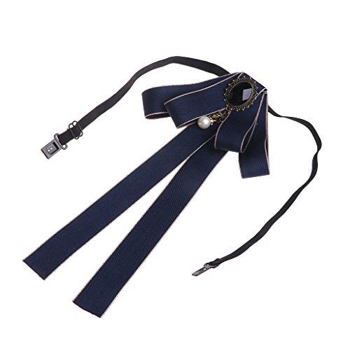 SimpleLife Hombres/Mujeres Cuello Atado Corbata Broche Cinta de Lazo Cinta Larga Bowknot Grande Pajaritas Broches con Collar Regalo de la joyería del Collar patriótico