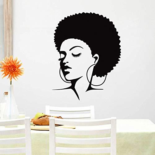 Njuxcnhg Friseursalon Aufkleber Haarschnitt Name Poster Zeit Stunde Vinyl Wandkunst Aufkleber Dekor Dekoration Wandbild Salon Aufklebercm 93x74cm