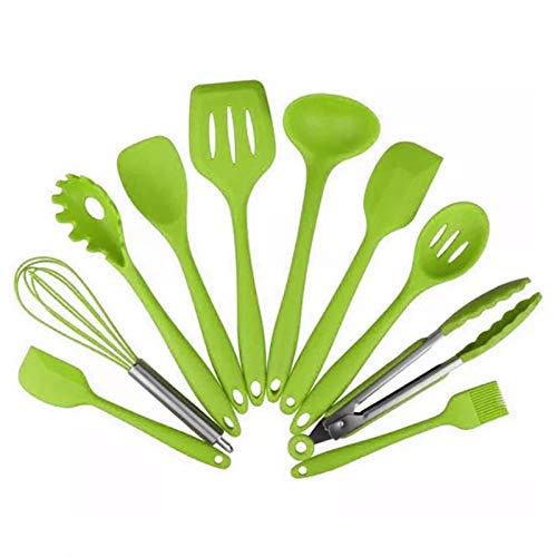 ZSP Utensili da Cucina Set di Utensili da Cucina - 10 Pezzi in Silicone Antiaderente stoviglie Utensili da Cucina for controsoffitto lavastoviglie Sicuro, Verde Set di Utensili da Cucina