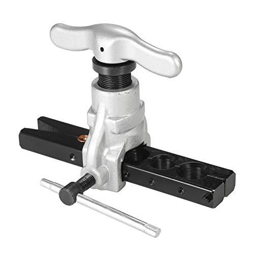 Rantoloys Exzenter-Bördelwerkzeugsatz für Kaltwasser-Gas-Bremsleitungsanwendungen Schlauch 6 Matrizengrößen 1/4-3/4 Zoll 45-Grad-Winkel Exzentrischer Kegel-Bördelwerkzeugsatz für