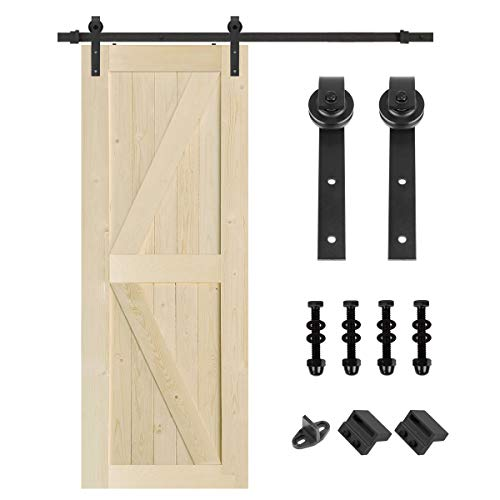 S&Z TOPHAND 32 in. x 84 in. Unfinished British Brace Knotty Barn Door with 6.6FT Sliding Door Hardware Kit/Solid Wood/Sliding Door/Double Surfaces/A Simple Assembly is Required (32, Door+J Shape)