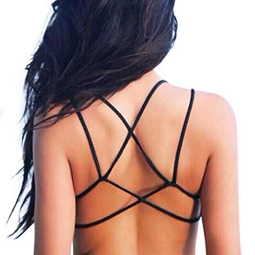 Fletion Frauen Sexy Rückengurt Low Back Wrap-BH Criss Cross Baumwolle Schwimmen Bikini Halter Bra Tank Top Backless Riemchen Leibchen Weste mit Eingebautem Gepolsterter BH