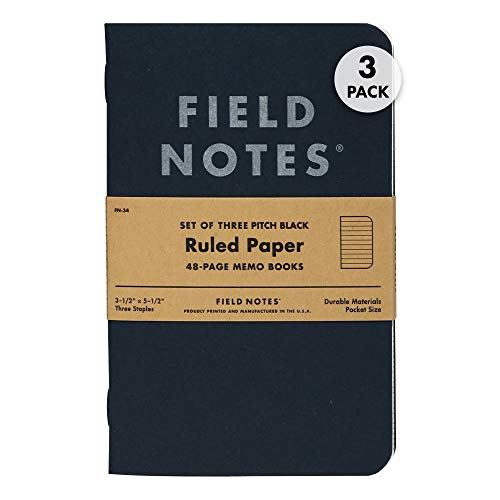 """Field Notes 3-Pack Pitch Black Memo Books (3.5"""" X 5.5""""), Ruled, 48 Pages   Thin Pocket Sized EDC Notebook With 90 GSM Paper & Paperback Cover   Work Notebooks For Note Taking   Made in the USA"""