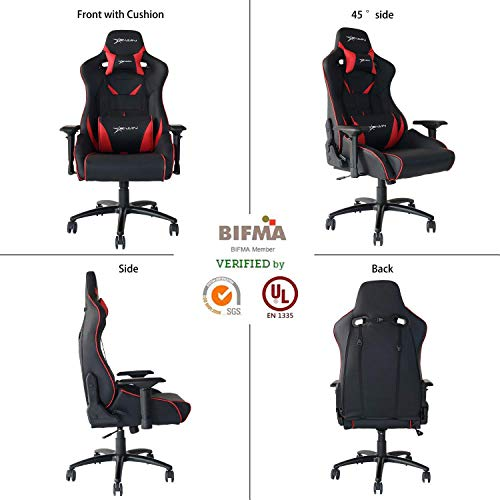E-WIN Gaming Chair Ergonomic High Back PU Leather Racing Style with Adjustable Armrest and Back Recliner Swivel Rocker Office Chair (Flash XL Series Red)