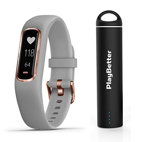 PlayBetter Garmin vivosmart 4 (Gray/Rose Gold, Small/Medium) Smart Activity Tracker Power Bundle Portable Charger   Fitness Activity Tracker   Heart Rate