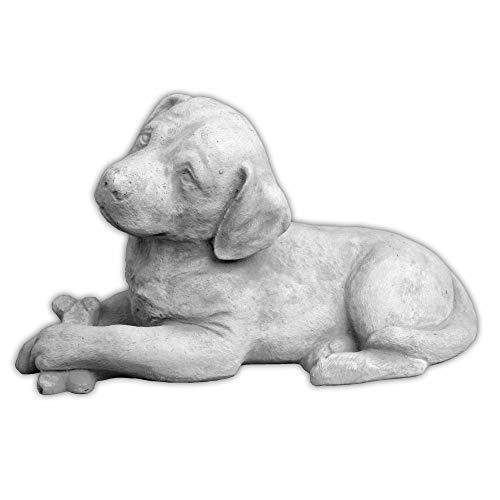 gartendekoparadies.de Massive Steinfigur süsser Hund Labrador aus Steinguss frostfest Gartendeko Raumdeko