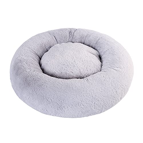 Cat Beds for Indoor Cats Small Dog Bed Cuddler Dog Bed Calming Dog Bed Donut Soft Anxiety Cozy Pet Bed Puppy Beds for Small Medium Dogs Washable Round in Grey Color WINDRACING PET