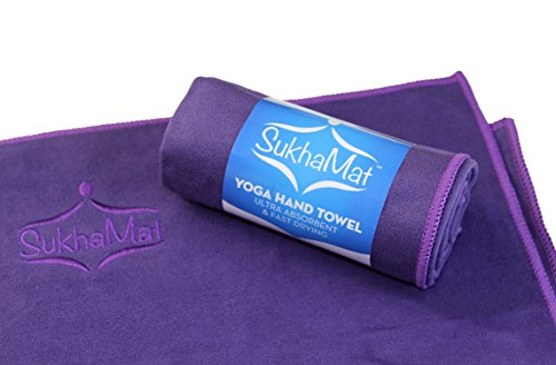 SukhaMat Yoga Hand & Face Towel - The Best Hand & Face Towel for Yoga or Exercise, Ultra Absorbent, Fast Drying, Durable Microfiber Construction - Pefectly fits Our Yoga Knee Pad (Purple)