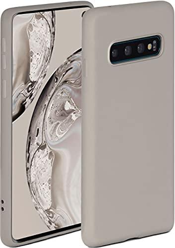 ONEFLOW Soft Hülle kompatibel mit Samsung Galaxy S10 Hülle aus Silikon, erhöhte Kante für Displayschutz, zweilagig, weiche Handyhülle - matt Taupe
