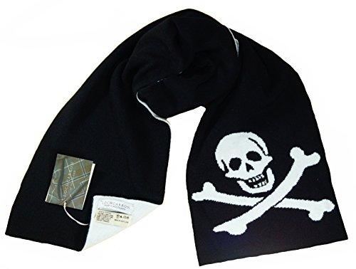 Lochcarron Écharpe tricotée Motif tête de mort et os croisés Noir et blanc