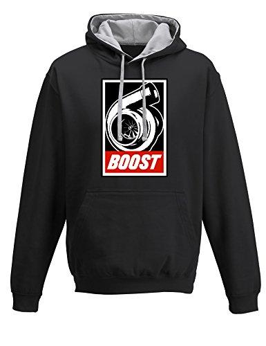 Baddery Petrolhead: Boost - Geschenk für Autoliebhaber - Hoodie für alle Tuning-, Drift-, und Motorsport Fan - Kapuzen-Pullover Herren Sweatshirt, Schwarz / Grau, M