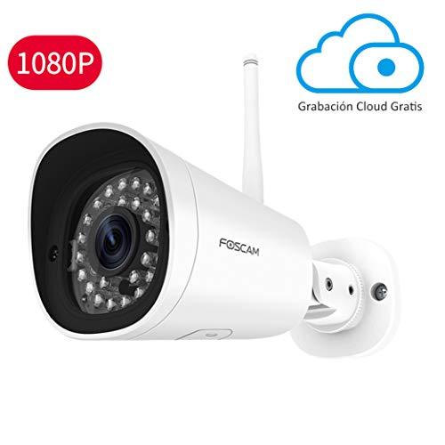 Foscam FI9902P 2MP Cámara Bala IP WiFi Vigilancia, 8H EN LA Nube Gratis, AI Detección Humana, visión Nocturna, Compatible con Alexa (P2P, 1080p, ONVIF)