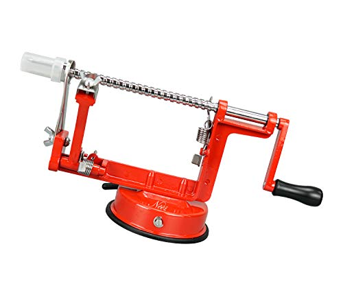 NEEZ Apple Peeler Fruit Corer Slicer Cutter Machine and Potato Peelers (Apple Peeler: Red)