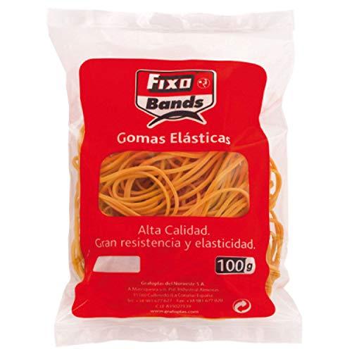 FIXO 45840 Bolsa de Gomas Elásticas, 100 g, 2 mm x 20 cm