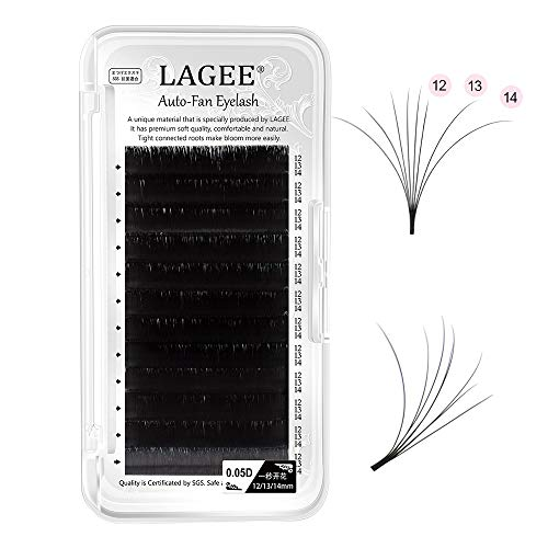 LAGEE Easy Fan Volume Eyelash Extensions 0.05 D curl 12-13-14mm Mix Auto-fan Cluster Self Blooming Rapid Flower 3 Layers Faux Mink Soft Pre-glued Lashes professional beauty salon supplies