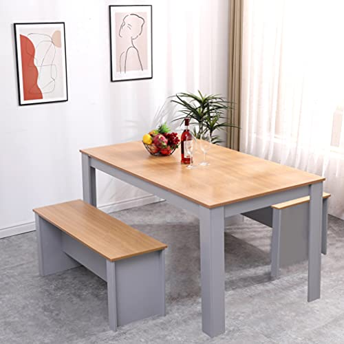 Homeke Wooden Dining Set Table with 2 Benches Grey/White Oak Dining Room Garden Bench for 4-6 People (Grey+Oak, 150CM)