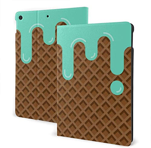 Abstract Colorful Case for New IPad 7th Generation 10.2 Inch 2019 Multi-Angle Viewing Folio Smart Stand Cover Auto Wake/Sleep for IPad 10.2' Tablet-Mint Ice Cream-One Size