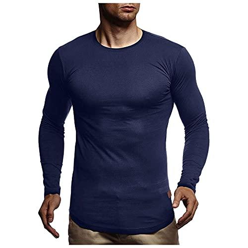 EVAEVA Blusa de Manga Larga para Hombre Polos con Cuello Redondo Camisetas Slim Fit t Shirt Original de Color Sólido Elastano Túnicas Casual Transpirable Hombres Camiseta de Otoño e Invierno