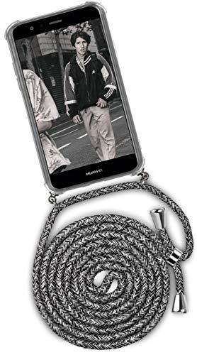 ONEFLOW® Handykette + Hülle passend für Huawei P10 Lite | Stylische Kordel Kette - Kristallklare Handyhülle mit Band zum Umhängen in Schwarz Grau Weiß