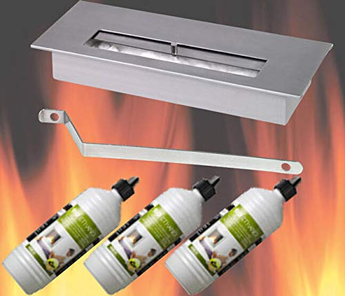 Roestvrijstalen bio-ethanol brander + 3 liter ethanol gelhaarden brandgel open haard