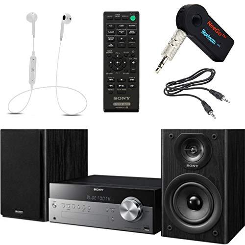 Sony Bluetooth Micro Music System Bundle – [2] Piece Set Includes Micro Hi-fi Shelf System with Single Disc Cd Player, Bluetooth, USB Input, 2-Way, Bass Reflex Speakers NeeGo Bluetooth Receiver;
