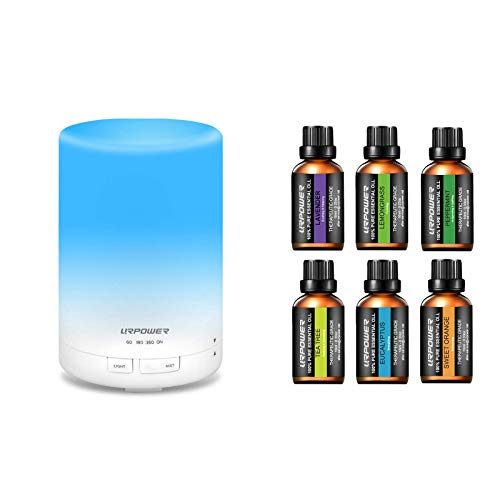 URPOWER 300ml Aroma Essential Oil Diffuser Ultrasonic Air Humidifier with 6 Essential Oil 100% Pure Lavender, Peppermint, Sweet Orange, Eucalyptus, Tea Tree, Lemongrass Essential Oil Gift Set