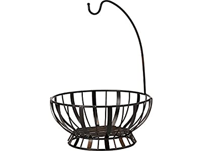 Gourmet Basics by Mikasa Stripe Fruit Metal Basket with Banana Hanger by Gourmet Basics by Mikasa