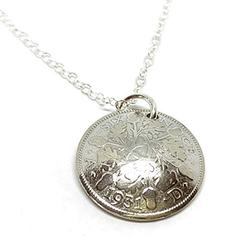 Domed Pendant 1931 Lucky Sixpence 89th Birthday gifts for women Sterling Silver 18in Chain
