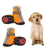 Dociote Hundeschuhe pfotenschutz mit Anti-Rutsch Sohle, reflektierendem Riemen, Klettverschluss,...