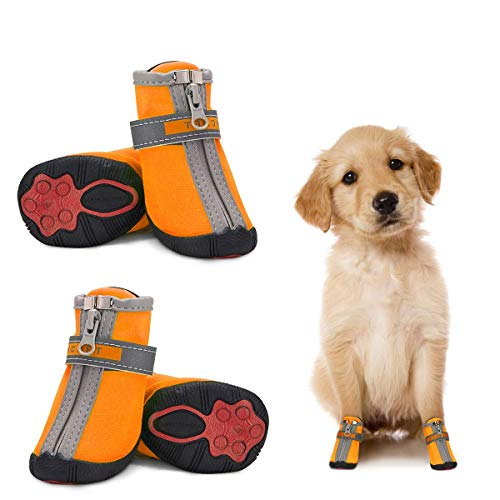 Dog Shoes for Small Dogs Winter Snow Dog Booties Open with Zips and Rugged Anti-Slip Sole Paw - Reflective Running Hiking Pet Dog Boots - Protectors Comfortable Suitable for Medium Dogs (#5, Orange)