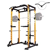 Mikolo Power Cage, 1000LBS Power Rack with LAT Pull Down and 360° Landmine for Home Gym,...