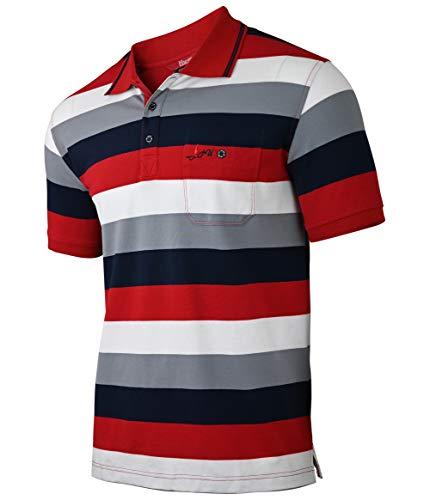 Soltice Herren Polo Shirts Kurzarm, Gestreifte Polohemden mit Brusttasche, Blousonshirts, T-Shirt aus Baumwolle-Mix (M bis 3XL) (L, [B2] Bordeaux-Linie)