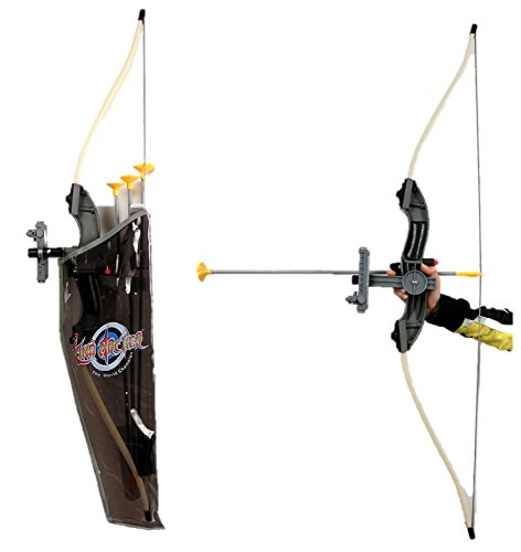 Archery Recurve Bow with Pointer Sight Pin, Finger Tabs and Shoulders Holder Toy Leisure Bow Arrow Black