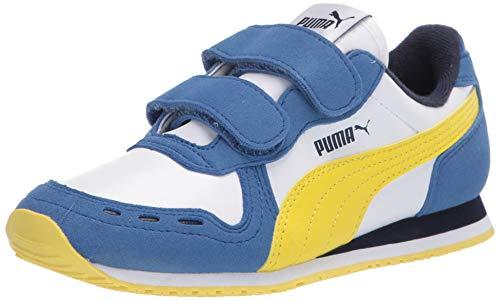 PUMA Unisex-Kid's Cabana Racer Velcro Sneaker, White Bright Cobalt-Meadowlark, 11.5 M US Little Kid
